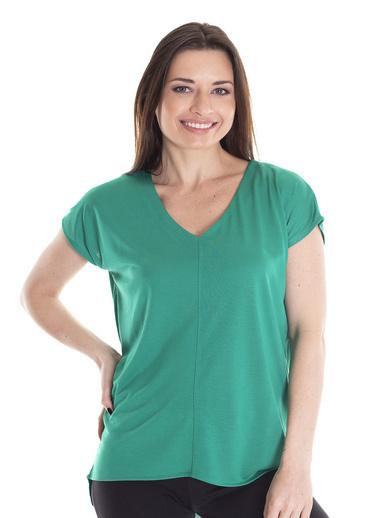 Stamina Önü Dikişli V Yaka Tunik Yeşil